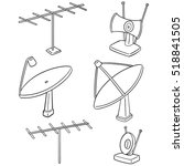 vector set of satellite dish... | Shutterstock .eps vector #518841505