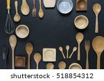 various kitchen utensils on... | Shutterstock . vector #518854312