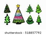 christmas  xmas trees. hand... | Shutterstock .eps vector #518857792