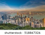 hong kong city downtown on... | Shutterstock . vector #518867326