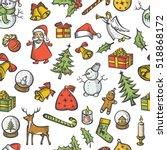 vector christmas seamless... | Shutterstock .eps vector #518868172
