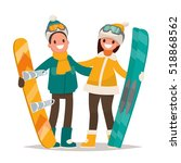 winter sports. couple man and... | Shutterstock .eps vector #518868562