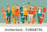 winter active leisure . a group ... | Shutterstock .eps vector #518868736