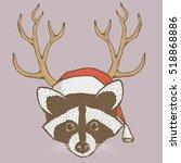 raccoon vector illustration... | Shutterstock .eps vector #518868886