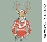 christmas deer vector... | Shutterstock .eps vector #518868892