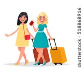two friends women with luggage... | Shutterstock .eps vector #518868916