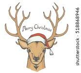 christmas deer vector... | Shutterstock .eps vector #518868946