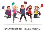 happy group of students are... | Shutterstock .eps vector #518870542