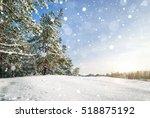 winter landscape. pine trees... | Shutterstock . vector #518875192