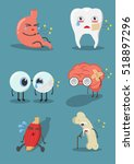 internal human organs with cute ... | Shutterstock .eps vector #518897296