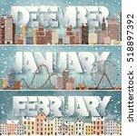 winter cityscape.city... | Shutterstock .eps vector #518897392