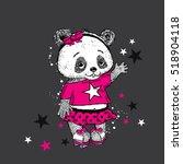 cute panda on roller skates.... | Shutterstock .eps vector #518904118