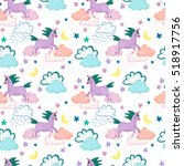 vector pattern with cute violet ... | Shutterstock .eps vector #518917756