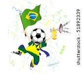 brazilian soccer fan with ball... | Shutterstock .eps vector #51892339