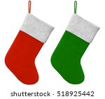 green and red stocking on white ...   Shutterstock . vector #518925442