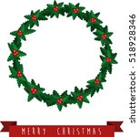 christmas wreath and ribbon.... | Shutterstock .eps vector #518928346