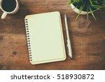 top view image of open notebook ... | Shutterstock . vector #518930872
