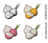 set of onion. whole bulb and... | Shutterstock .eps vector #518931292