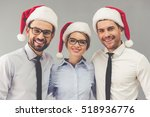 Happy Business People In Santa...