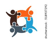 teamwork puzzled cooperation.... | Shutterstock .eps vector #518937292