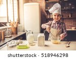 cute little girl in apron and... | Shutterstock . vector #518946298