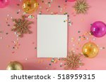 mock up card on a pink... | Shutterstock . vector #518959315