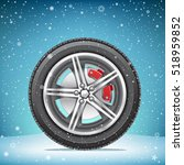 the winter inflated tire on... | Shutterstock .eps vector #518959852