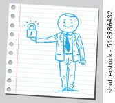 businessman holding padlock | Shutterstock .eps vector #518986432