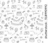 birthday doodle pattern | Shutterstock .eps vector #518990992