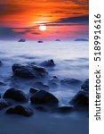 sunset ocean long time exposure ...   Shutterstock . vector #518991616