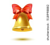 golden christmas bell with a... | Shutterstock .eps vector #518998882