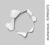 Torn paper realistic, hole in the sheet of paper on a transparent background. No gradient mesh. Vector illustrations.