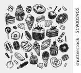 vector sweets. set of hand... | Shutterstock .eps vector #519002902