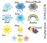 cute weather and sky elements.... | Shutterstock . vector #519011278