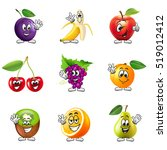 funny cartoon fruits icons... | Shutterstock .eps vector #519012412