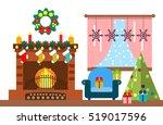 christmas room interior....   Shutterstock .eps vector #519017596