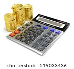 calculator and gold isolated on ... | Shutterstock . vector #519033436