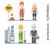 workers of construction sector. ... | Shutterstock .eps vector #519038866