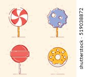 set of sweets lines icons. flat ... | Shutterstock .eps vector #519038872