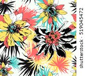 tropical vector floral seamless ... | Shutterstock .eps vector #519045472