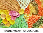 assortment of colorful pasta... | Shutterstock . vector #519050986