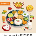 indian food composition of... | Shutterstock . vector #519051952