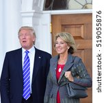 Small photo of BEDMINSTER, NEW JERSEY - 19 NOVEMBER 2016: President-elect Donald Trump & Vice President-elect Mike Pence met with potential cabinet members at Trump International. Betsy DeVos, possible education sec
