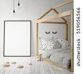 mock up poster frame in... | Shutterstock . vector #519056566