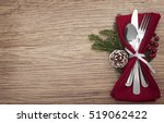 christmas meal table setting... | Shutterstock . vector #519062422