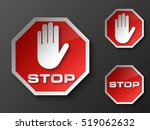 stop palm icon  no entry icon ... | Shutterstock .eps vector #519062632