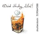 ice falls in whiskey.design of... | Shutterstock .eps vector #519064588