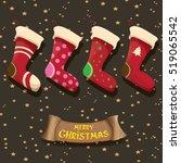 vector cartoon cute christmas... | Shutterstock .eps vector #519065542