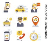 taxi service icon set  flat... | Shutterstock .eps vector #519072952
