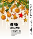 christmas card with garland... | Shutterstock .eps vector #519092242